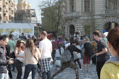 Pillow fight day. International Pillow Fight Day 2017 in Bucharest, Romania. April 1st in cities around the World Stock Photo