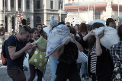 Pillow fight day. International Pillow Fight Day 2017 in Bucharest, Romania. April 1st in cities around the World Royalty Free Stock Photography