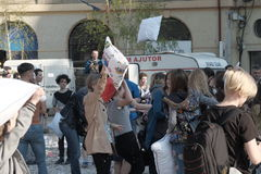 Pillow fight day. International Pillow Fight Day 2017 in Bucharest, Romania. April 1st in cities around the World Royalty Free Stock Photos