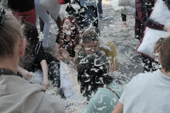 Pillow fight day. International Pillow Fight Day 2017 in Bucharest, Romania. April 1st in cities around the World Royalty Free Stock Images