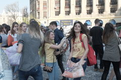 Pillow fight day. International Pillow Fight Day 2017 in Bucharest, Romania. April 1st in cities around the World Royalty Free Stock Photo