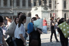 Pillow fight day. International Pillow Fight Day 2017 in Bucharest, Romania. April 1st in cities around the World Stock Photos