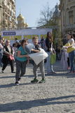 Pillow fight day. International Pillow Fight Day 2017 in Bucharest, Romania. April 1st in cities around the World Royalty Free Stock Image