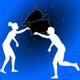 Pillow fight. Empty blue room with two people, friends or relatives, engaging on a pillow fight Royalty Free Stock Photos
