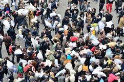 Pillow fight flash mob in Paris, France Royalty Free Stock Images