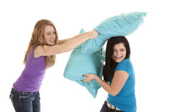 Pillow fight girls Stock Photos