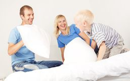 Pillow fight at home Stock Photography