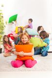 Pillow fight with kids Royalty Free Stock Photos