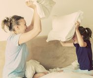 Pillow fight. Stock Photo
