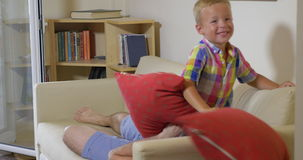 Pillow Fight between Son and Dad stock video