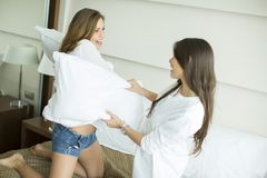 Pillow fighting Stock Photo