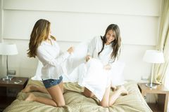Pillow fighting Stock Images