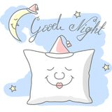 Pillow. Illustration of good night wishes. Elements for card design Stock Images