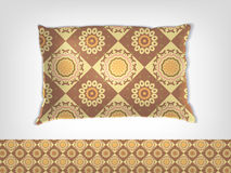 Pillow with indian pattern mockup. Cofee and milk pillow with indian pattern mockup vector illustration