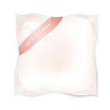 Pillow isolated on white background.  Feather label. Stock Photo