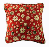 Pillow isolated on white backround. Pillow with flowers isolated on white backround with clipping path Royalty Free Stock Photography