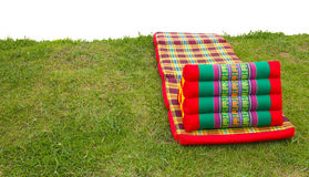 Pillow mattress laid grass Stock Images