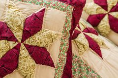 Pillow with Patchwork Design Stock Photo