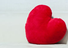 Pillow red heart shaped Stock Image