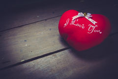 Pillow red heart shaped Stock Photos