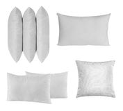 Pillow set. Bed covered with bed spreads and soft pillow stock photo