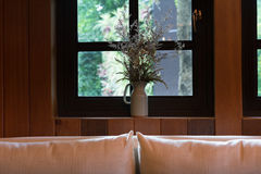 Pillow, sofa and flower beside window Stock Photos