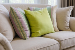 Pillow on sofa. At home Stock Photography