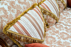 Pillow on sofa at home. Beautiful Pillow on sofa at a home Royalty Free Stock Images