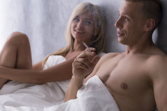 Pillow talk after the romantic night Stock Images