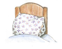 Pillow. Watercolor and ink hand drawing of pillow on a bed stock illustration