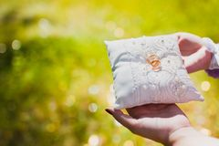 Pillow wedding love rings white decoration. Future, event stock image
