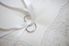 Pillow for wedding rings Royalty Free Stock Photos