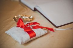 Pillow for wedding rings 2088. Stock Image