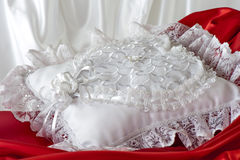 Pillow for wedding rings Stock Image