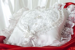 Pillow for wedding rings Stock Images
