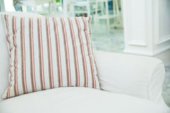 Pillow on white sofa in living room ,Vintage stlye Stock Photo
