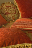 Pillows. Soft pillows with patterns lying on the couch Royalty Free Stock Image