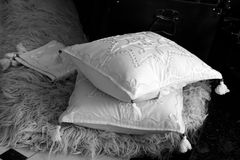 Pillows. White pillows as a dowry for a newly married woman, Aromanian custom Royalty Free Stock Image