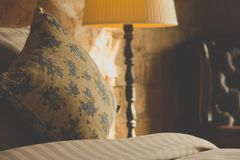 Pillows on an antique luxury bed Royalty Free Stock Image