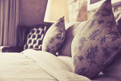 Pillows on an antique luxury bed Stock Images