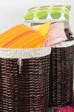 Pillows in basket. Stock Photos