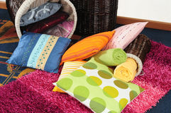 Pillows in basket. Royalty Free Stock Images