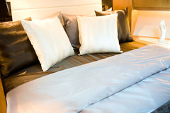 Pillows in bed Royalty Free Stock Image