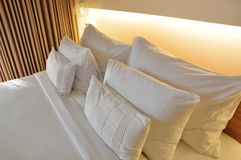 Pillows and bed Stock Images