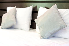Pillows on a bed Comfortable soft pillows on the bed Stock Photos