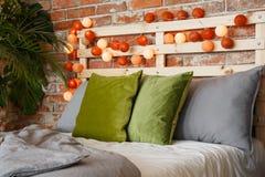 Pillows on a bed stock photos
