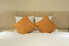 Pillows on bed Stock Photo