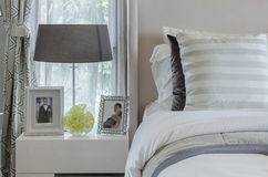 Pillows on bed in modern bedroom Stock Photos