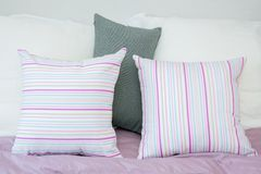 Pillows on a bed Stock Photo