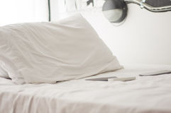Pillows on a bed room. White pillows on a bed Comfortable soft pillows on the bed Royalty Free Stock Photography